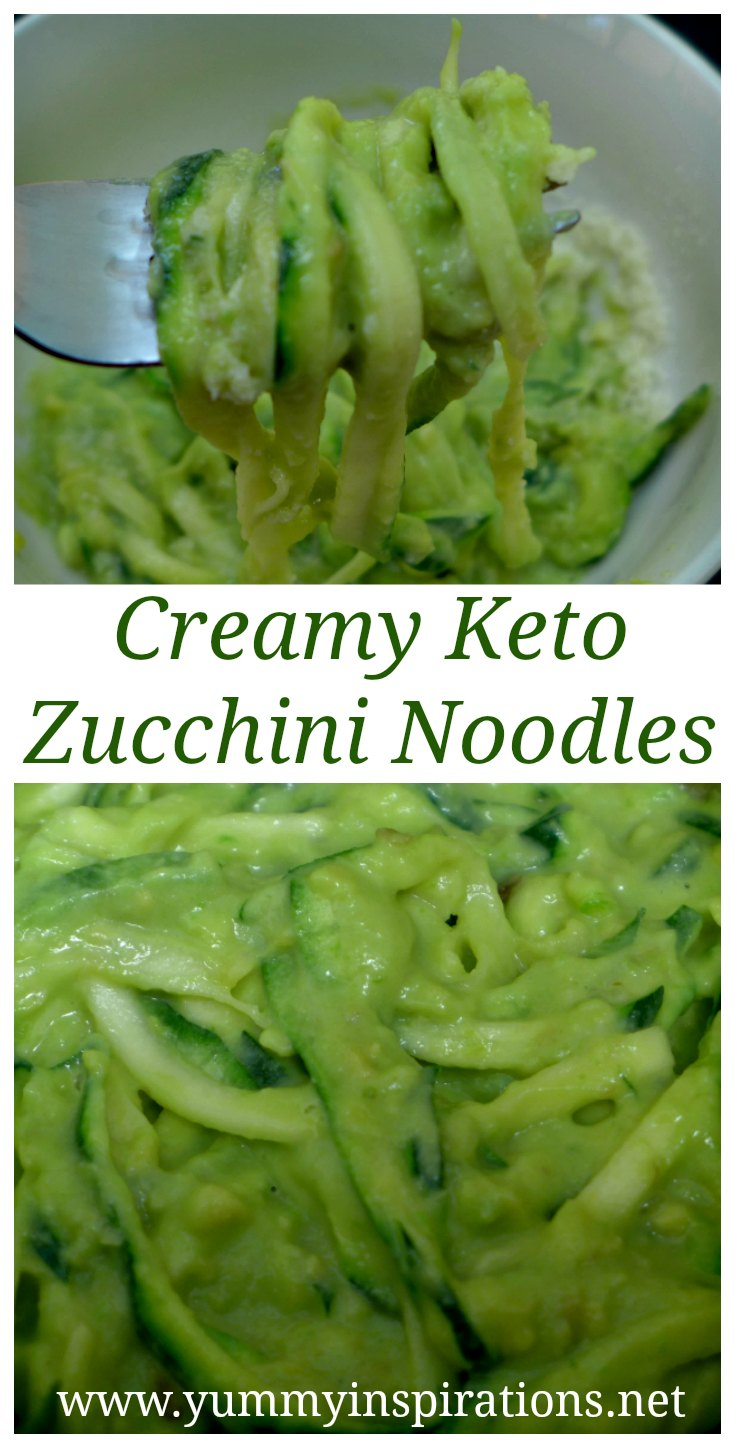 Zucchini Pasta Recipe - Low Carb Zucchini Noodles - Creamy Avocado Zoodles Recipe - Easy Low Carb Zucchini Recipes for dinners.