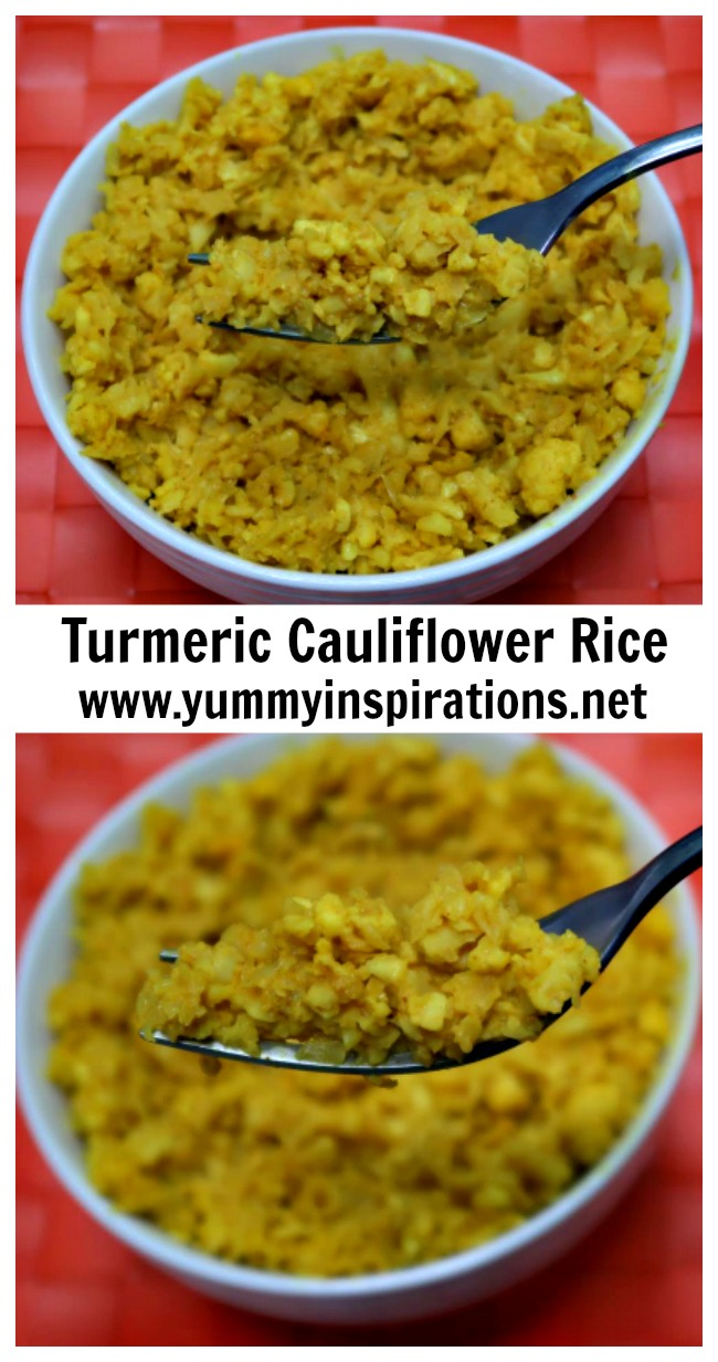 Turmeric Cauliflower Rice Recipe + Video - Low Carb, Keto Diet