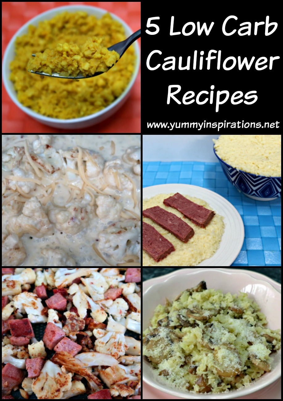 5 Low Carb Cauliflower Recipes - instructions and videos for how to make keto diet friendly cauliflower rice, mashed potatoes, mac and cheese and more!