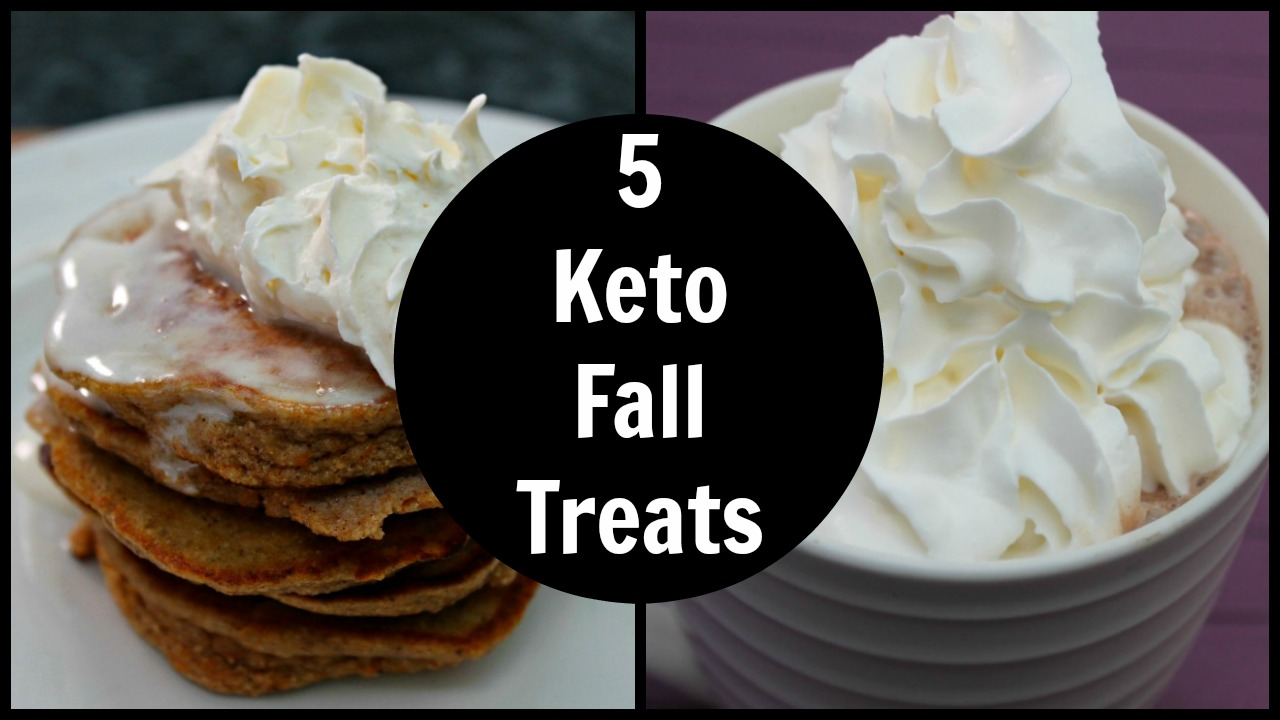 5 Keto Fall Treats - Easy Low Carb Desserts Recipes and food to enjoy during Fall and the holiday season - including hot chocolate and pumpkin sweet treats.